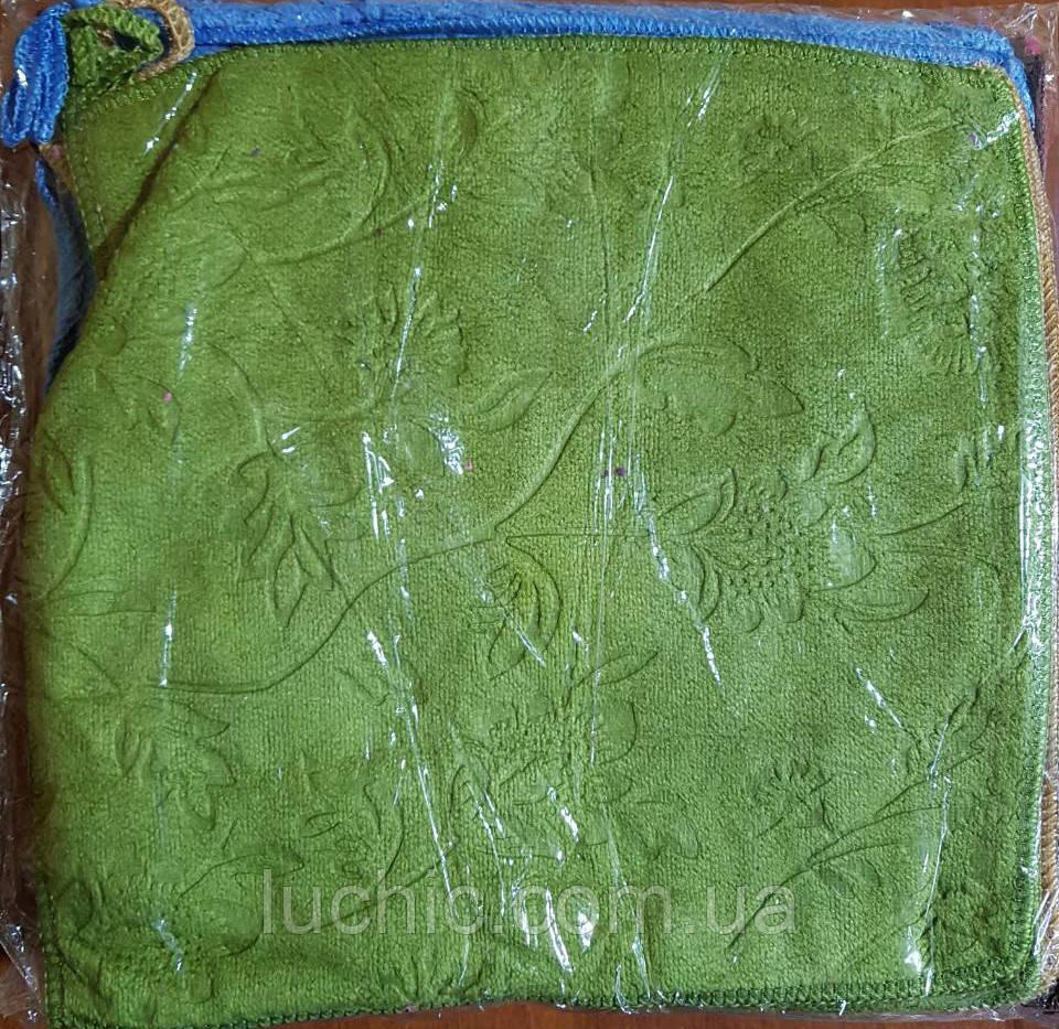 Серветки кухонні фібра однотонні вибиті в асортименті 25*25 20 шт в упаковці