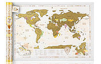 Скретч-карта мира Gold в тубусе с авоськой на английском