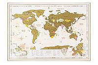 Скретч-карта мира Gold в рамке на английском