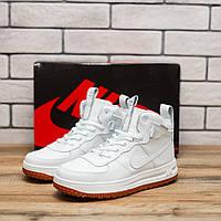 Высокие Женские кроссовки  Nike LF1  натуральная кожа, белые