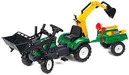 Трактор педальный с прицепом и двумя ковшами Ranch Falk 2052CN. Машинка для детей