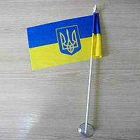 """Флажок """"Украина"""" с гербом  на присоске"""