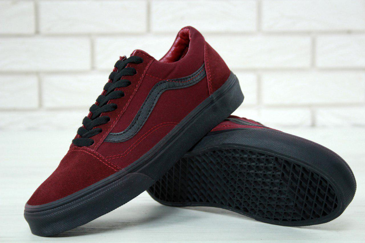 Кеды Vans Old Skool bordo/black. Живое фото (Реплика ААА+)