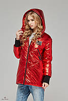Весенняя женская куртка с капюшоном К-66 металлик., фото 1