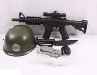 Военный набор - автомат, каска, нож, граната