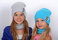 Светло серая стильная шапка для девочки , фото 1