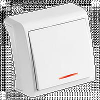 Выключатель Белый накладной с подсветкой Vera Viko, 90681019
