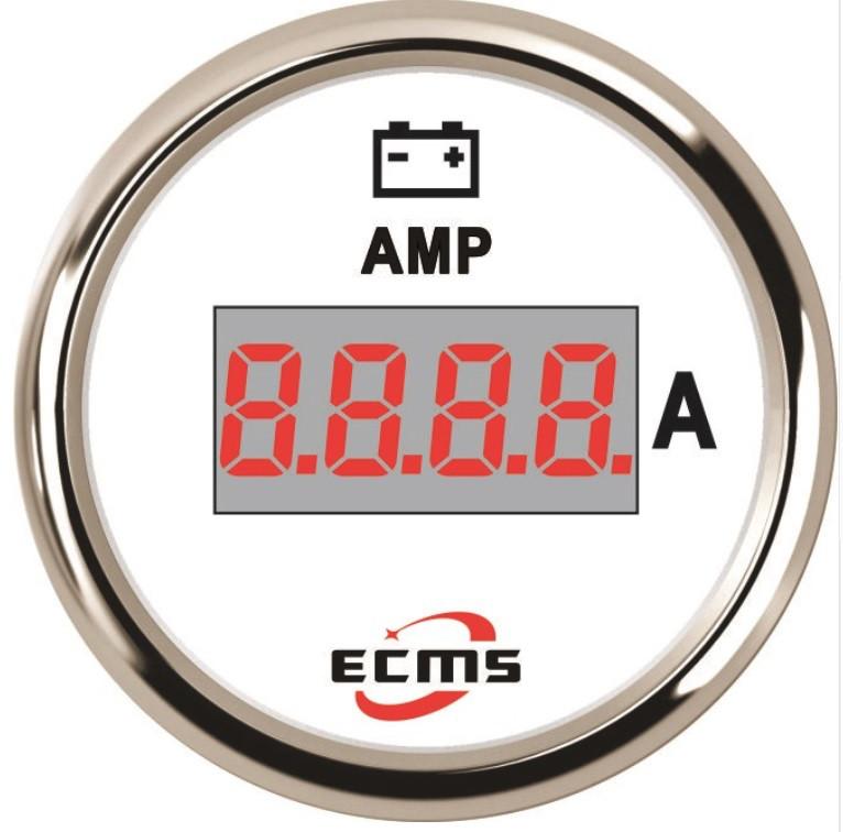 Цифровой амперметр судовой Ecms диаметр 52мм белый