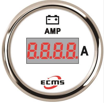 Цифровой амперметр судовой Ecms диаметр 52мм белый, фото 2
