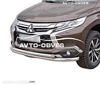 Двойная защита переднего бампера Mitsubishi Pajero Sport (2016-...) Ø60*60
