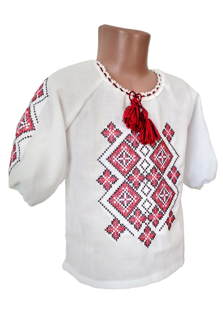 Вишита сорочка для дівчинки із червоно-чорним геометричним орнаментом
