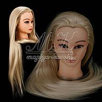 Учебная голова манекен для плетения 30% натуральных волос, длина 70 см, цвет блонд