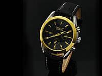 Механические часы  Черный с золотыми стрелками