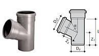 Тройник для канализации 32 мм 67 градусов WAVIN, фото 1