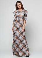 Платье длинное в пол клетка П188