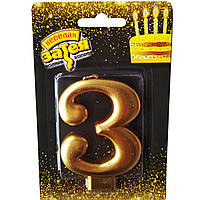 """Свечка -цифра """"3"""" Золота"""