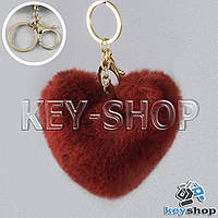 Красный пушистый меховой брелок сердце, с кольцом и карабином на сумку, рюкзак