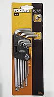 Набор шестигранных ключей, набор шестигранников шарообразные CrV 9шт Toolex 19s957