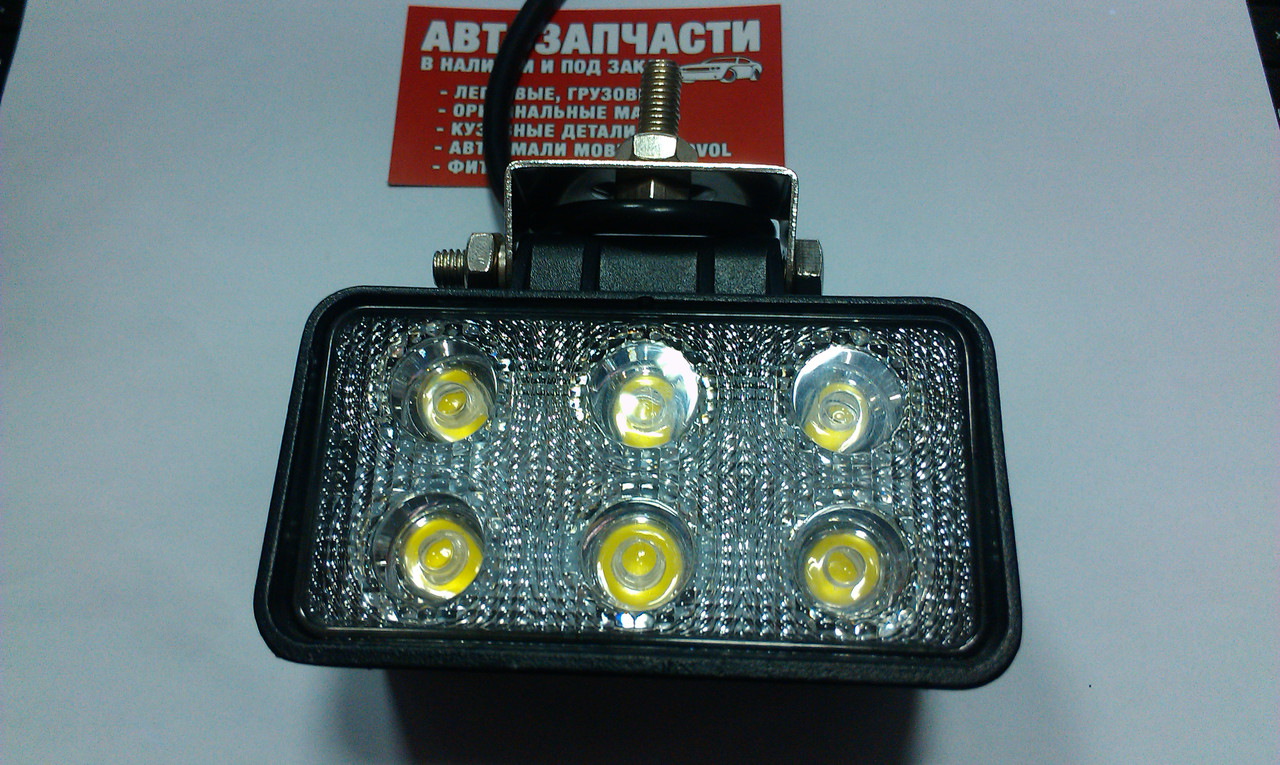 Фара дополнительного света широкая LED 6 диодов 18W