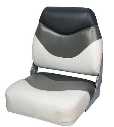 Сиденье для катера складное премиум, низкая спинка бело/серо/угольное, фото 2