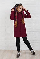 Пальто детское Ткань кашемир,подкладка стёганный атлас на синтепоне 100 мех искусственный.клав №333