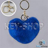 Синий пушистый меховой брелок сердце, с кольцом и карабином на сумку, рюкзак