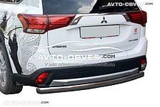Защита заднего бампера Mitsubishi Outlander 2015-2017, труба прямая (п.к. AK)