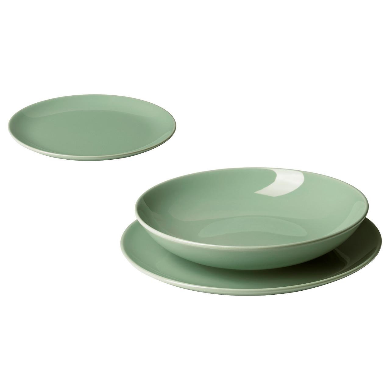 ФЭРГРИК Сервиз, 18 предметов, керамика, светло-зеленый, 70392014 IKEA, ИКЕА, FARGRIK