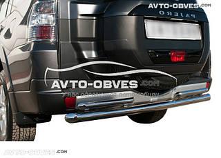 Защита заднего бампера Mitsubishi Pajero Wagon IV, прямая труба двойная (Tamsan)