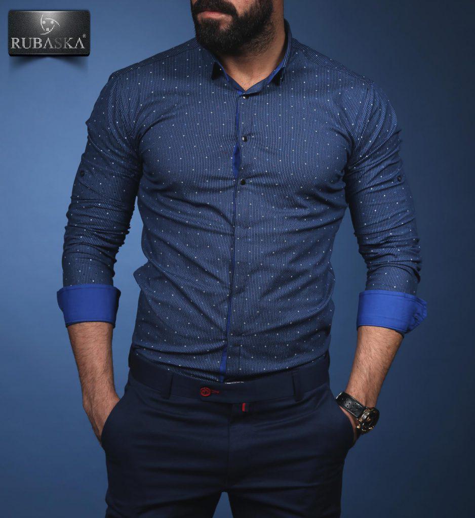 8072b6c016d Модная мужская рубашка синего цвета от производителя  продажа