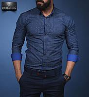 Модная мужская рубашка синего цвета от производителя