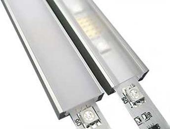 Комплект. Профиль для светодиодной ленты накладной 7х16 мм. ЛП7. Матовый. Анодированный.