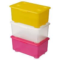 ГЛИС Коробка с крышкой, розовый/белый/желтый, 17x10 см, 20047450, IKEA, ИКЕА, GLIS