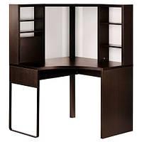 МИККЕ Стол письменный, угловой, черно-коричневый, 100x141 см, 50244741 IKEA, ИКЕА, MICKE