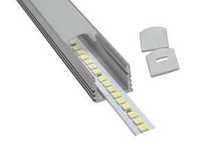 Комплект. Профиль для светодиодной ленты накладной 12х16 мм. ЛП12 Прозрачный Анодированный, фото 3
