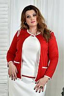 Белая блузка с отделкой красной