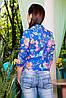 Синий женский пиджак с цветочным рисунком, фото 2