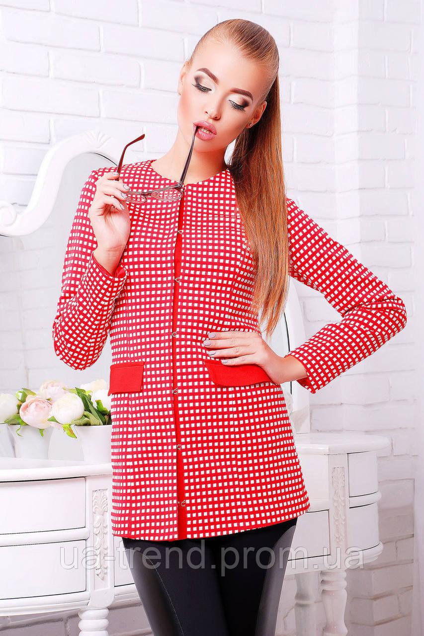 Стильный женский пиджак удлиненный красного цвета