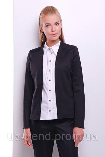 Классический женский пиджак черного цвета с длинным рукавом