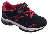 Детские текстильные кроссовки 73ROSESHNUROK31 р. 31, 32, 33, 34, 35 Черный с розовым