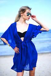Пляжная туника короткая из прозрачного шифона синего цвета