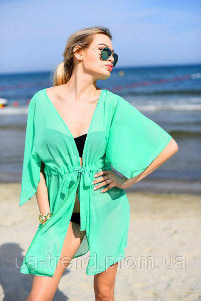 Женская пляжная туника из шифона мятного цвета
