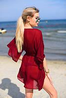 Красивая пляжная туника из шифона бордового цвета