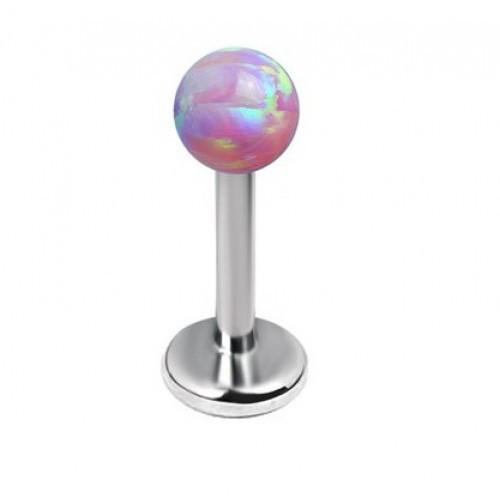 Серьга в губу титановый лабрет с круглым опалом розовым