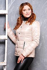 Коротка куртка жіноча приталені бежевого кольору
