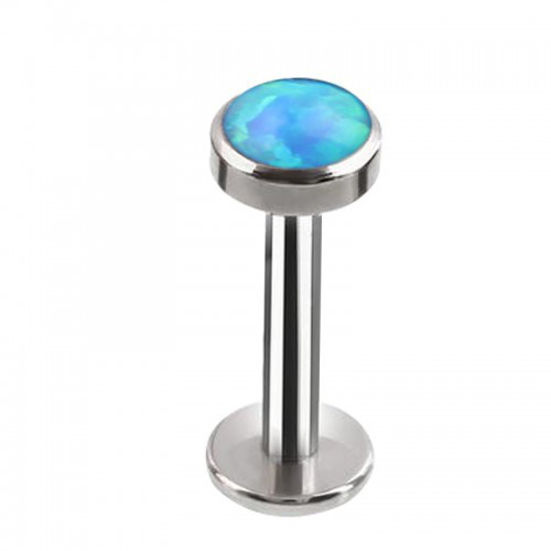 Пірсинг сережка титановий лабрет з опалом блакитним