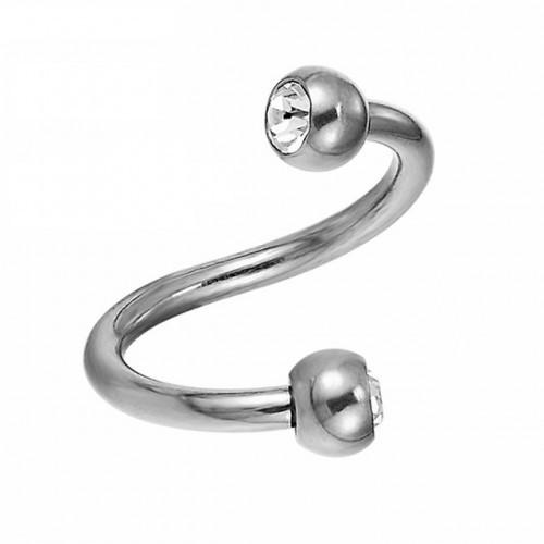 Пірсинг сережка спіраль титанова з кульками 141076