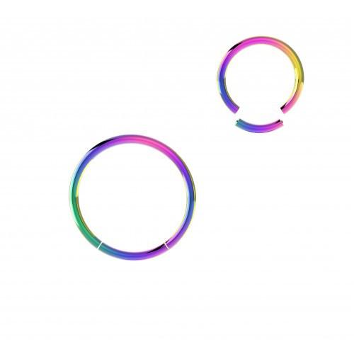 Пирсинг кольцо мультицветное с сегментом