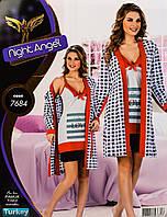 Женский комплект с халатом 2 в 1 Турция. Night Angel 7684. Размер 44-46.
