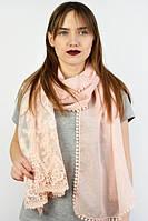 Персиковый красивый шарф с кружевом